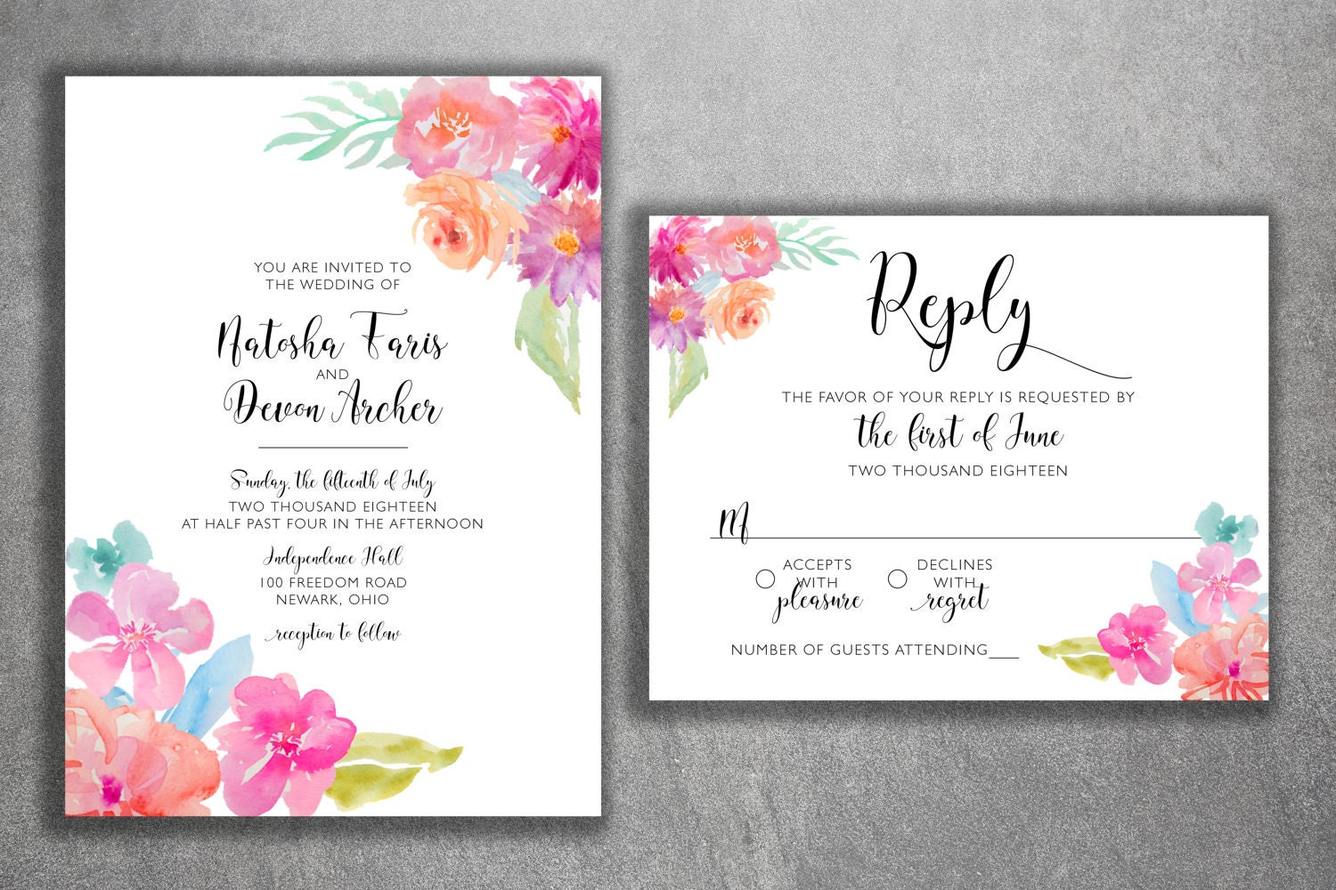 Watercolor Floral Wedding Invitations Set Printed, Classy Wedding ...