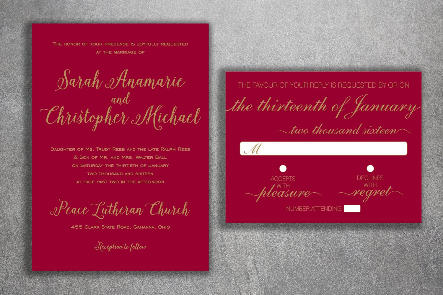 Burgundy and Gold Wedding Invitations Set - Simple Wedding ...