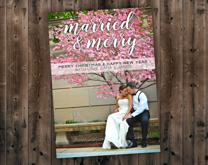 Married & Merry Christmas Card, Married and Bright, Our First Christmas, Newlywed, Photo, Picture, Portrait, Printed Set, Envelope