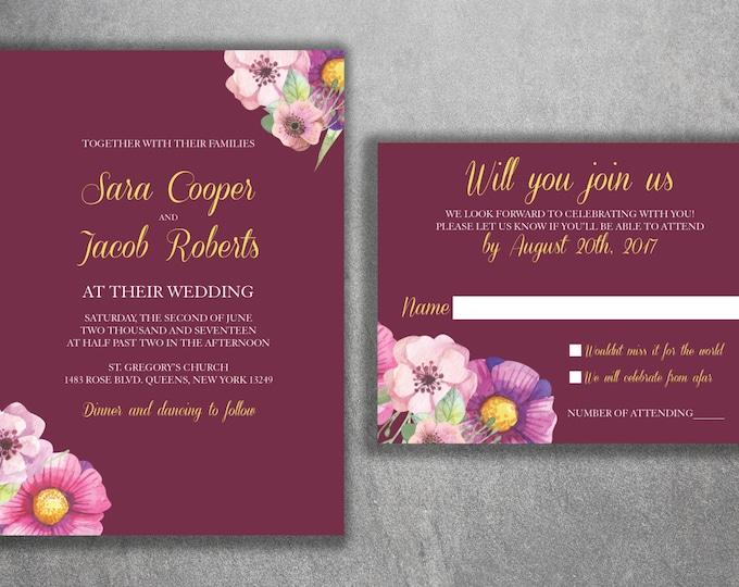 Boho Wedding Invitations, Bohemian Wedding Invitation, Boho Invite, Floral Wedding Invitation, Burgundy, Affordable Invite, Boho Chic