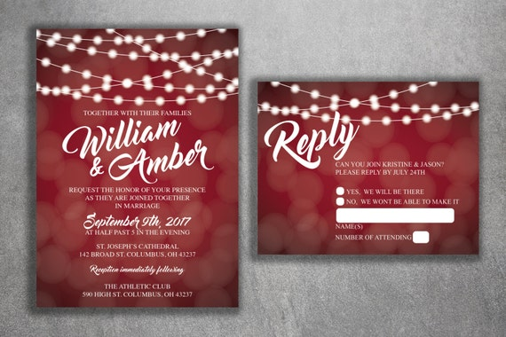 Red And White Lights Wedding Invitations Set Printed Cheap Etsy