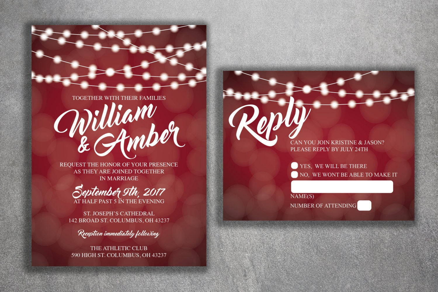 Red and White Lights Wedding Invitations Set Printed - Cheap Wedding ...