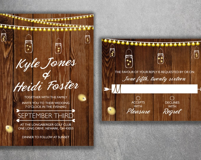 Country Wedding Invitations ket Printed with RSVP - Cheap Wedding Invitations, Burlap, Kraft, Wood, Affordable, DIY, Woodsy, Lights, Rustic