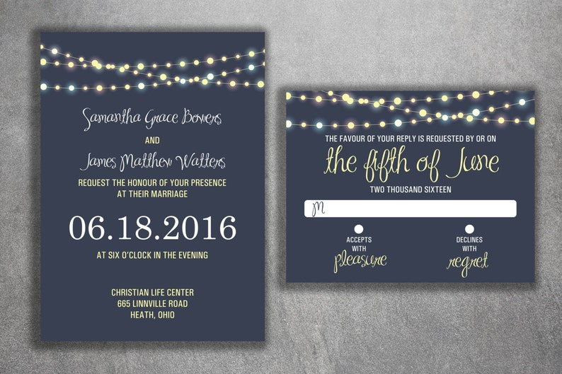 Affordable Wedding Invitations.Wedding Invitation Set Cheap Wedding Invitations Lights Wedding Invitations Unique Announcements Custom Night Blue Country Rustic