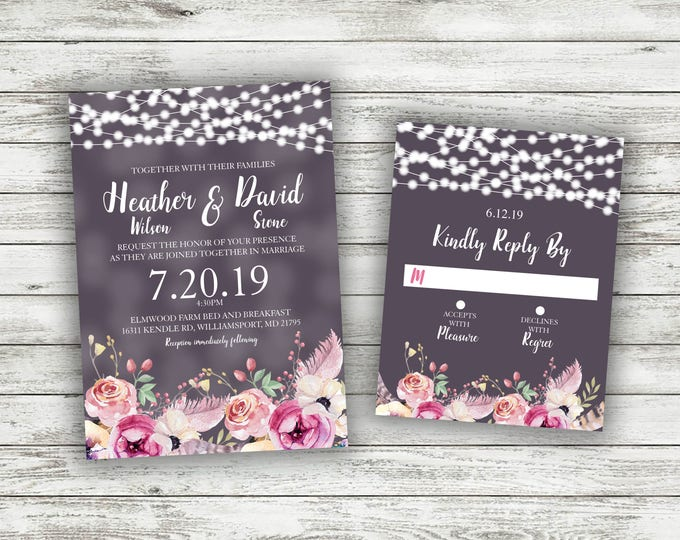 Rustic Wedding Invitation, Wedding Invitations, Flowers, Lights, Southern, Rustic, Country, Wedding Invite, BoHo, Bohemian Invitation