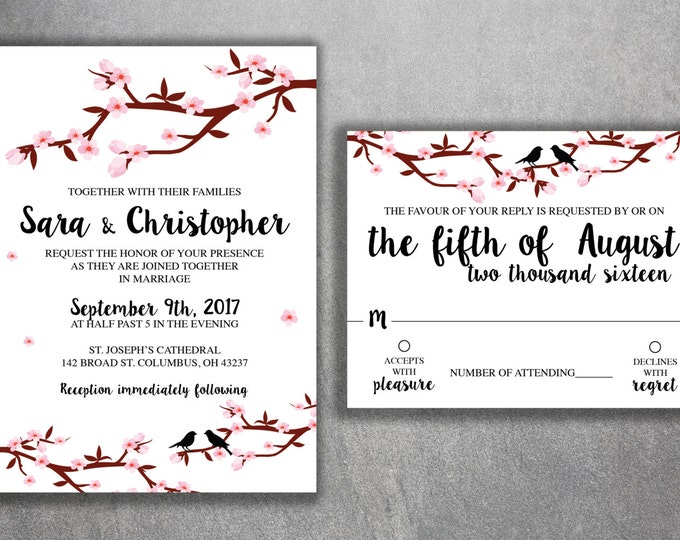 Cherry Blossom Tree Wedding Invitations Set Printed - Cheap Wedding Invitation, Affordable, Flowers, Branches, RSVP, Pink, Birds, Kit, Love