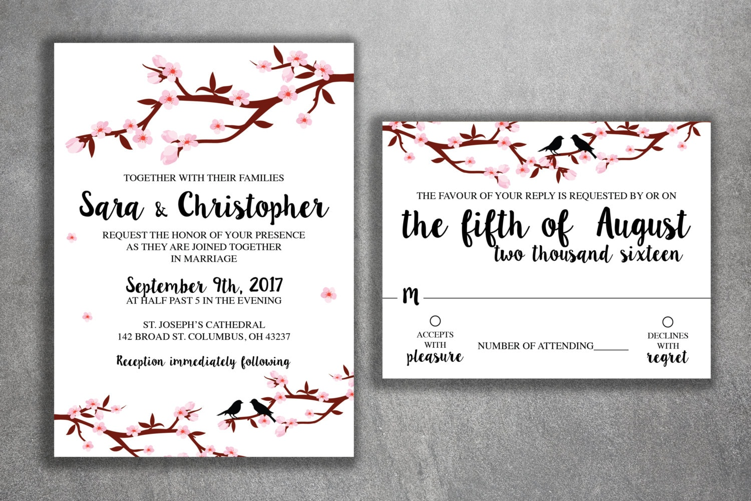 Cherry Blossom Tree Wedding Invitations Set Printed Cheap Invitation Affordable Flowers Branches Rsvp Pink Birds Kit Love: Cherry Blossom Wedding Invitation Kit At Reisefeber.org