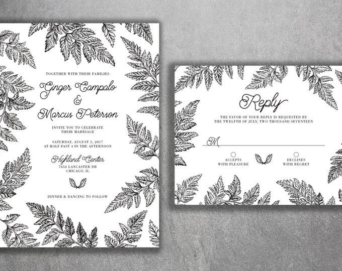 Black and White Fern Wedding Invitations Set Printed - Green, Vintage, Leaves, Classy, Classic, Tropical, Leaf Border, RSVP