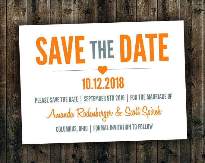 Modern Save the Date cards Printed - Postcard, Heart, Cheap, Affordable, Unique, Stationery, Announcements, Custom Designed