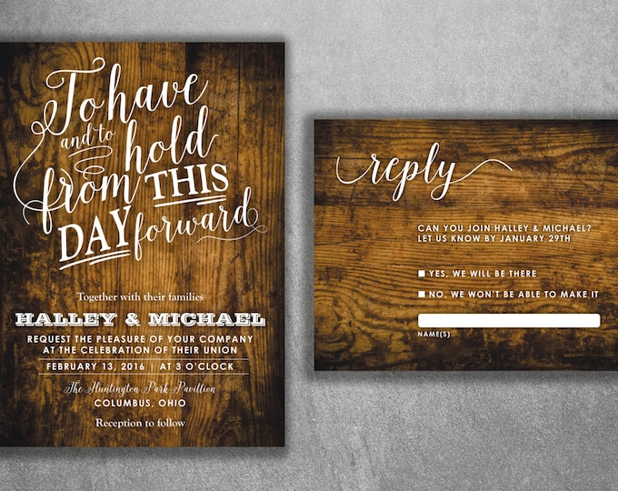 Country Wedding Invitations set, Rustic Wedding Invitation, Burlap, Wood, Affordable Wedding Invitation, Cheap, Kraft, Southern, Outdoors