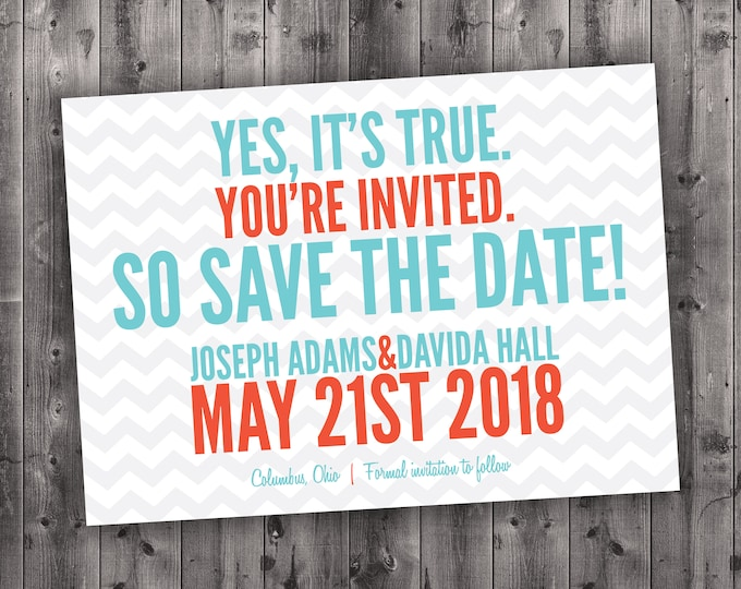 Modern Chevron Save the Date cards Printed - Postcard, Heart, Cheap, Affordable, Unique, Stationery, Announcements, Custom Designed