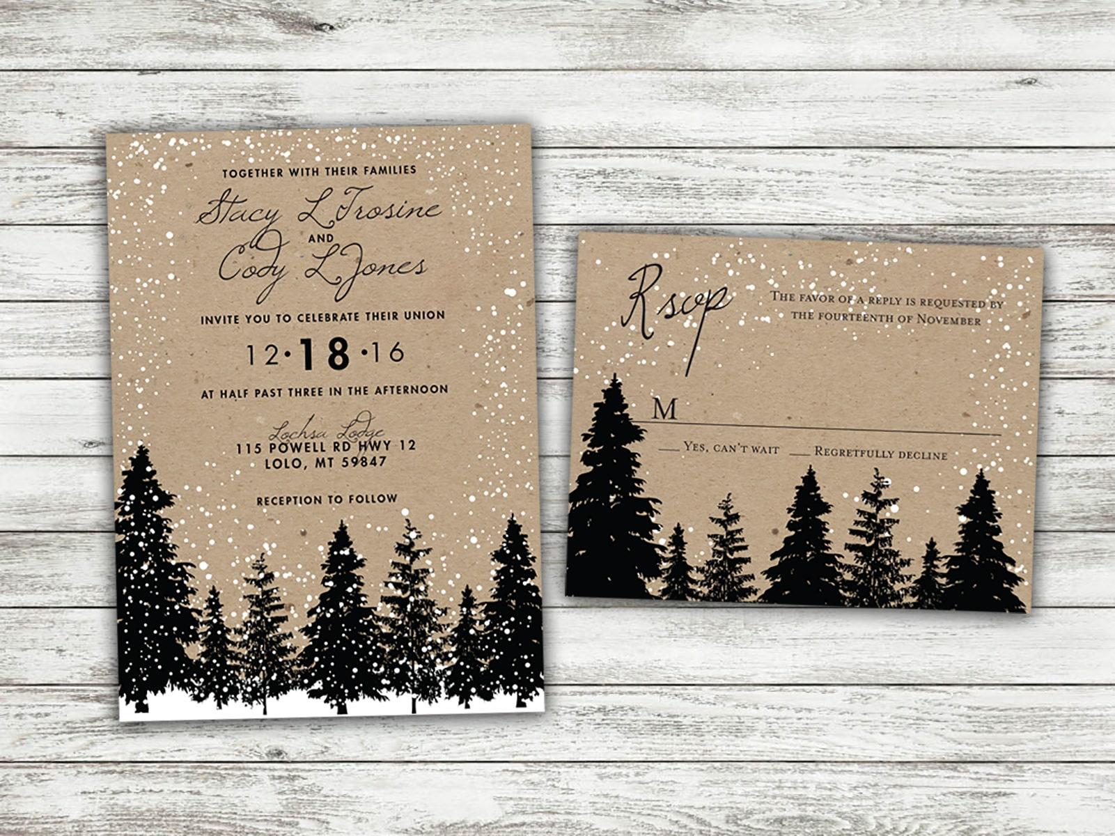 Winter Wedding Invitation Wording: Rustic Winter Wedding Invitations Snow Wedding Invitation