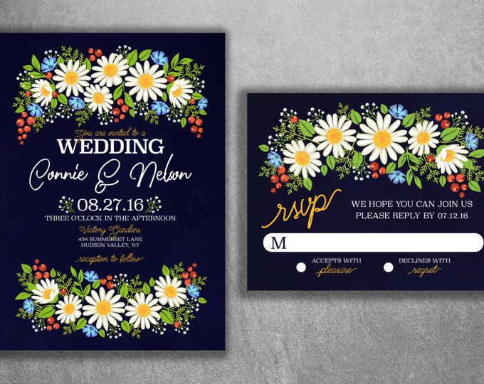 Boho Chic Wedding Invitations Printed Wild Flower, Daisy, Flowers, Floral, Spring, Boho, Yellow, Baby's Breath, Affordable, Bohemian, Spring