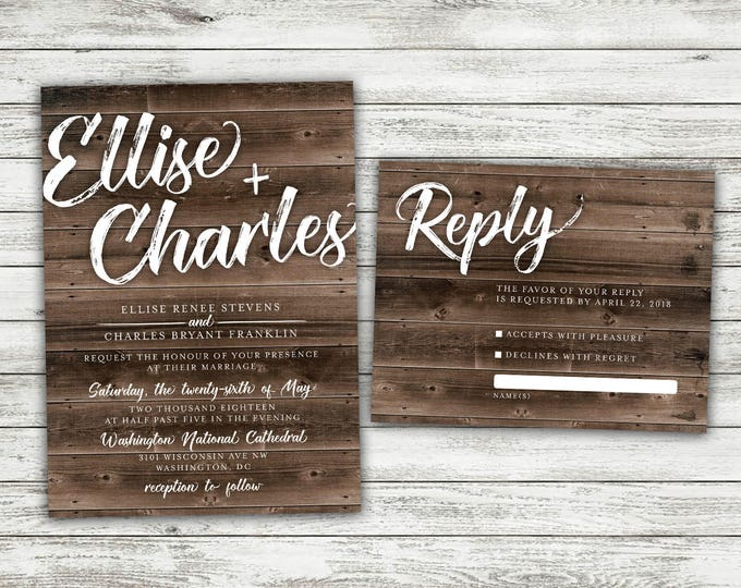 Rustic Country Wedding Invitations Set Printed - Cheap, Burlap, Kraft, Wood, Affordable, Woodsy, Lights, Outside, Elegant, Summer, Southern