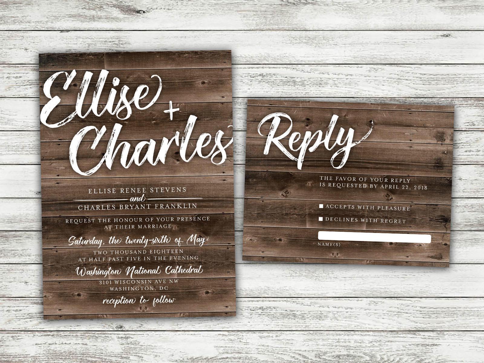Country Rustic Wedding Invitations: Rustic Country Wedding Invitations Set Printed Cheap