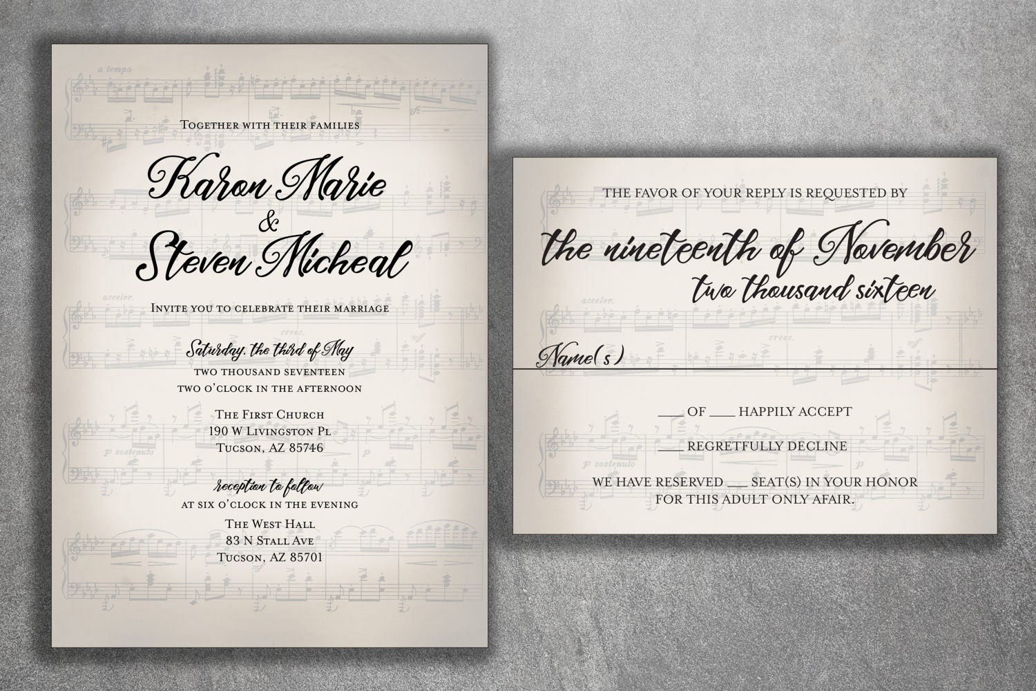 Musical Wedding Invitation set Printed, Sheet Music Wedding ...
