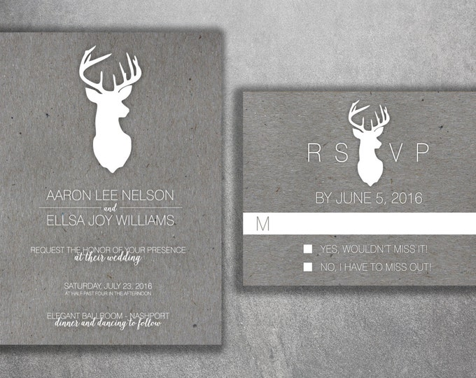Deer Wedding Invitations Set, Rustic Wedding Invitation, Country Wedding Invitation, Kraft, Affordable, Woods, Deer Rack, Buck, Hunting