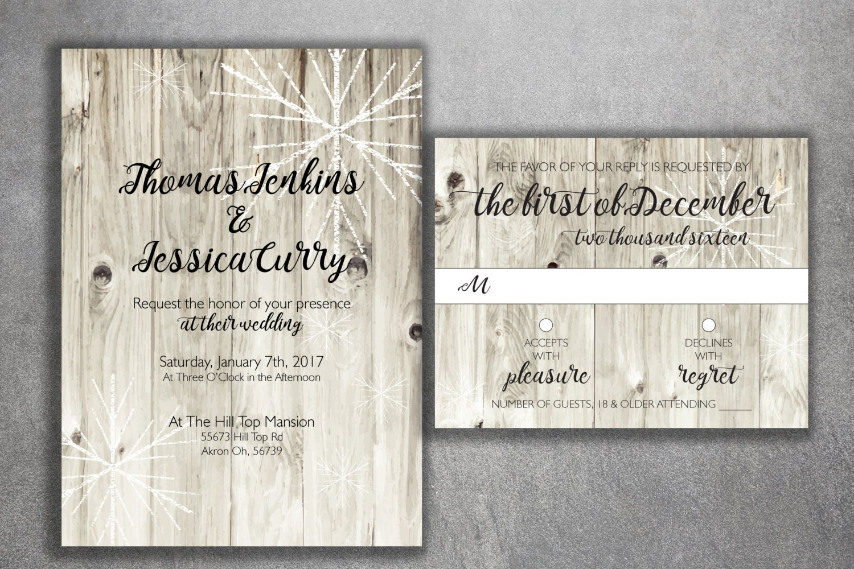 Rustic Winter Wedding Invitations, Snow Wedding Invitation, Rustic ...