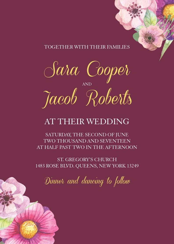 Floral Wedding Invitation Burgundy Affordable Invite Boho Chic Bohemian Wedding Invitation Boho Wedding Invitations Boho Invite