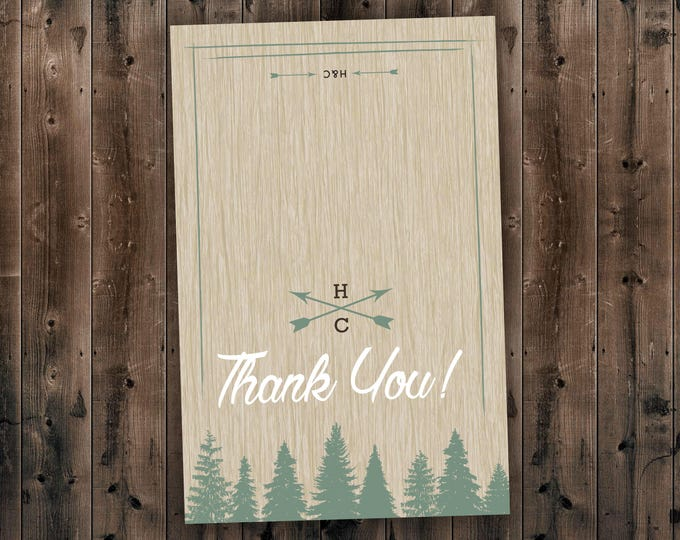 Woods Rustic Tree Wedding Thank You Card Printed, Country Wedding Invitations, Woods, Outdoors, Wedding Invitations, Affordable, Pine Trees