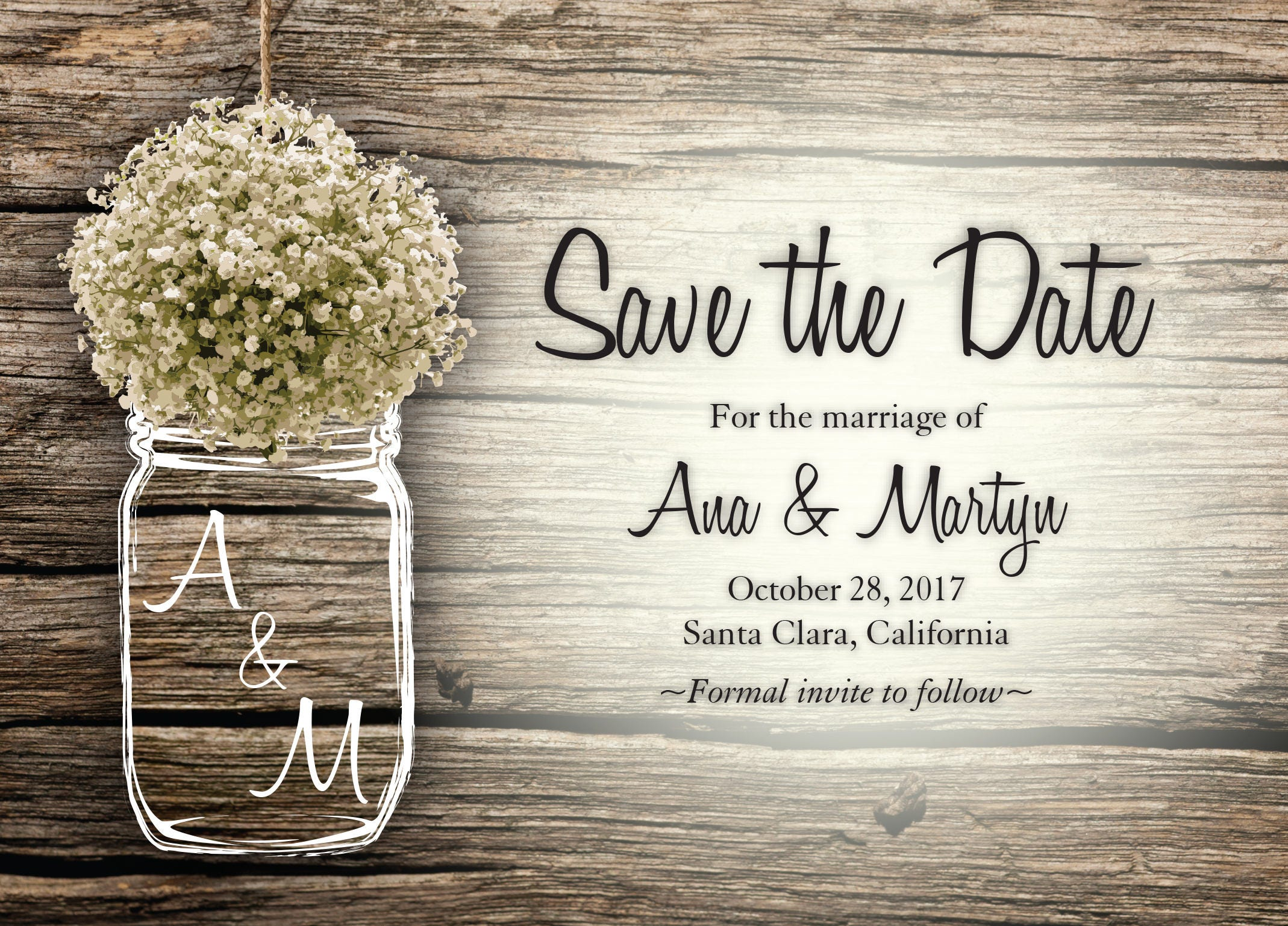 mason jar baby s breath flowers rustic save the date printed