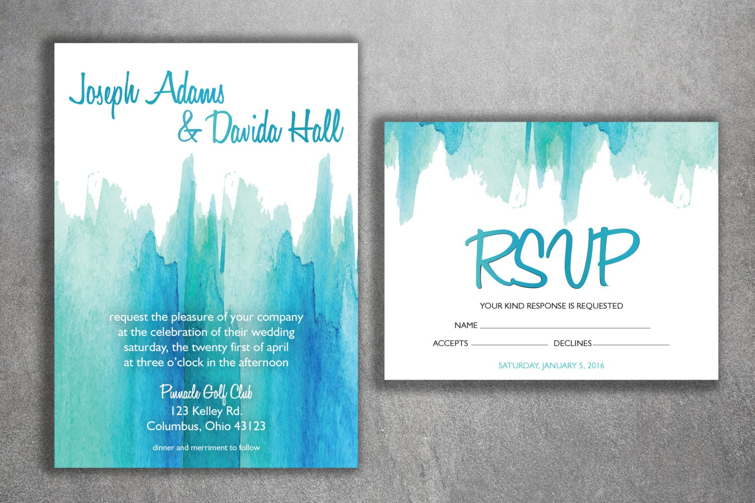 Affordable Wedding Invites: Watercolor Wedding Invitations Set Printed Cheap Wedding