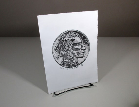 Print Indian Head Indian head silhouette Buffalo Nickel authentic Vintage  USA 5 cent coin Chief americana United States Mint five-cent piece
