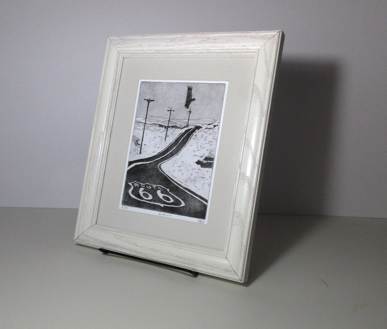 bbd5c205552 Framed print Route 66 etching modern abstract