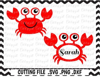 Cute Crab Svg-Png-Dxf-Fcm, Cutting Files For Silhouette Cameo/ Cricut, Svg Download.