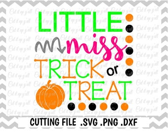 Trick or Treat Svg, Little Miss, Halloween Svg, Pumpkin Svg-Png-Pdf-Dxf- Cut Files for Cricut, Silhouette Cameo, Instant Download.