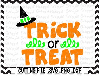 Trick or Treat Svg, Witch Hat, Halloween, Svg-Dxf-Pdf-Png, Cut Files for Cricut, Silhouette Cameo, Instant Download.