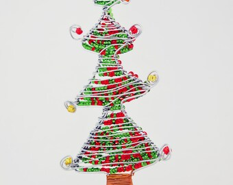 african maasai bead with wire christmas tree ornament