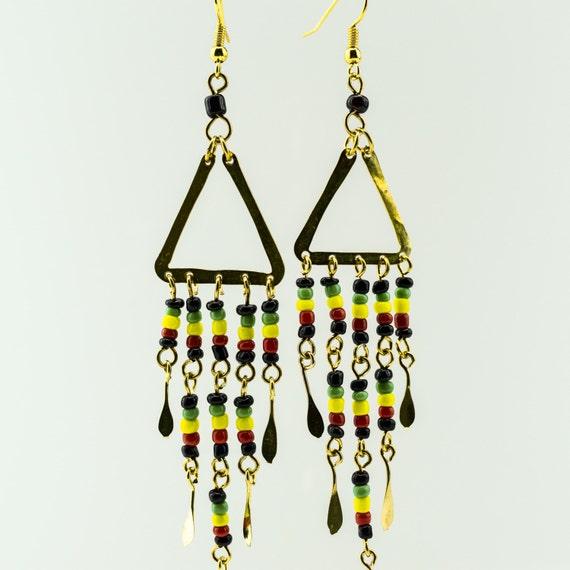 Maasai Market Red African Handmade Glass Givre Beads Brass Earrings