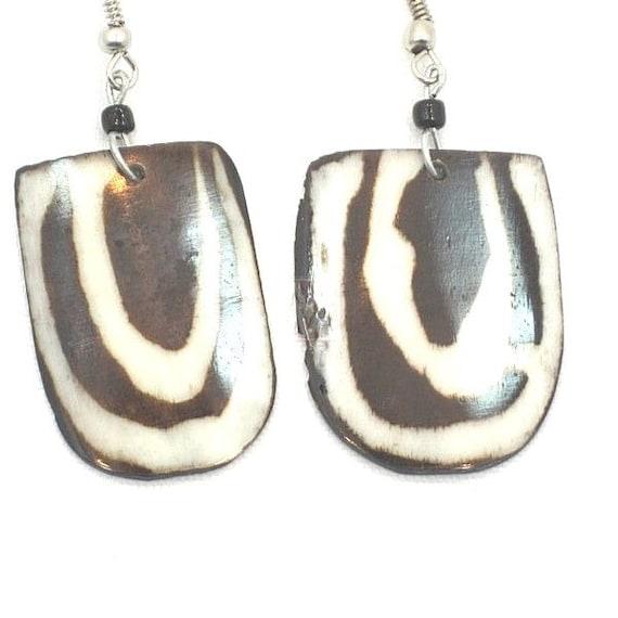 African Kenya Ethnic  Masai Handmade Cow Bone Batik Drop Earrings.