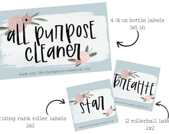 Elderberry 4x6 and 5x7 sized Winter Essential Oil Roller Blend Recipes Printable Winter Wellness Essential Postcard and Labels Set