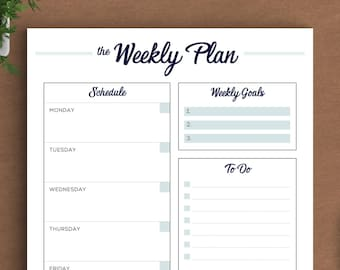 Printable Weekly Planner | To Do List, Weekly Planner | US Letter Planner, A4 Planner, A5 Planner, Half Size Planner | Instant Download PDF