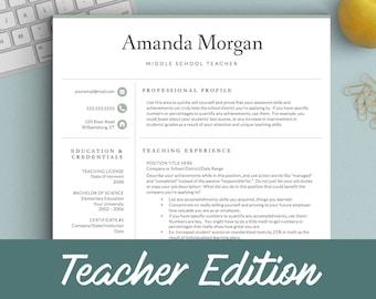 teacher resume template etsy