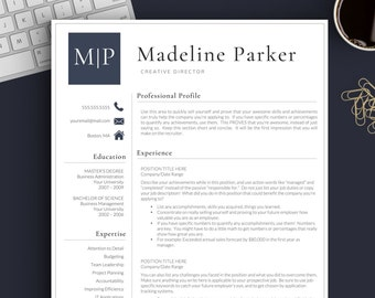 professional resume template for word pages 1 2 and 3 page resume template cover letter references icons creative resume