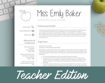 Teacher resume etsy teacher resume template for word pages 1 2 and 3 page resume template cover letter references icons apple teacher cv template altavistaventures Images