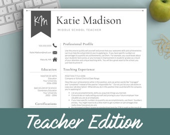 teacher resume template for word pages teacher cv etsy