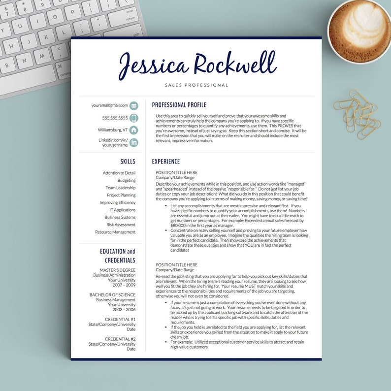 Creative Resume Template For Word And Pages 1 2 And 3 Page Etsy