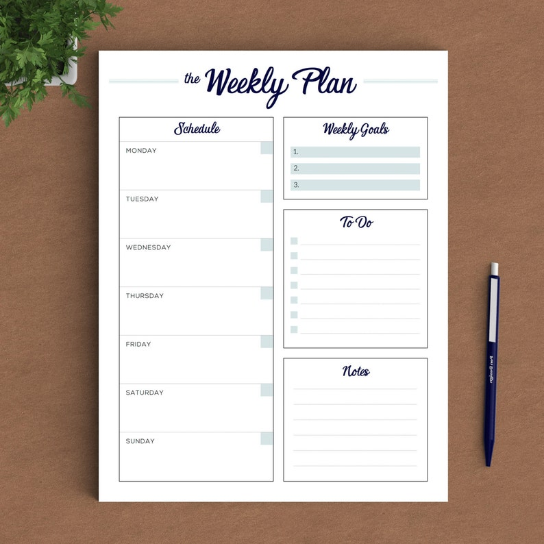 picture regarding Printable Weekly to Do List named Printable Weekly Planner In the direction of Do Listing, Weekly Planner US Letter Planner, A4 Planner, A5 Planner, 50 percent Dimension Planner Quick Down load PDF