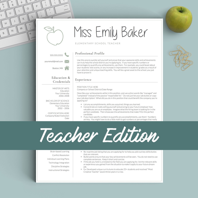 Profesor plantilla de curriculum vitae para Word y páginas   Etsy