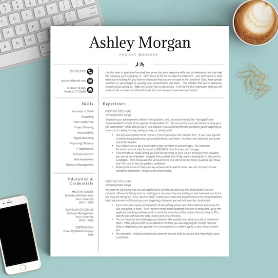 Professional Resume Template For Word & Pages 1 2 And 3