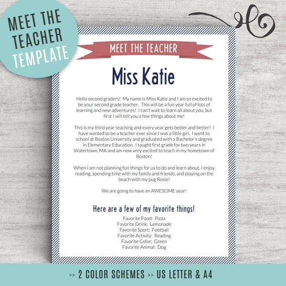 meet the teacher template for word us letter and a4 sizes