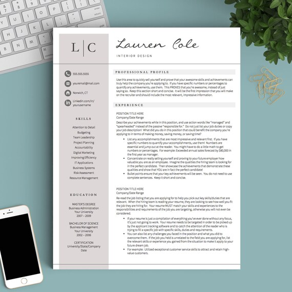 Creative Resume Template for Word & Pages CV Design CV | Etsy