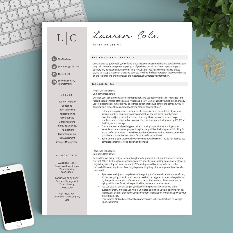 Plantilla de curriculum vitae creativa para Word y páginas   Etsy