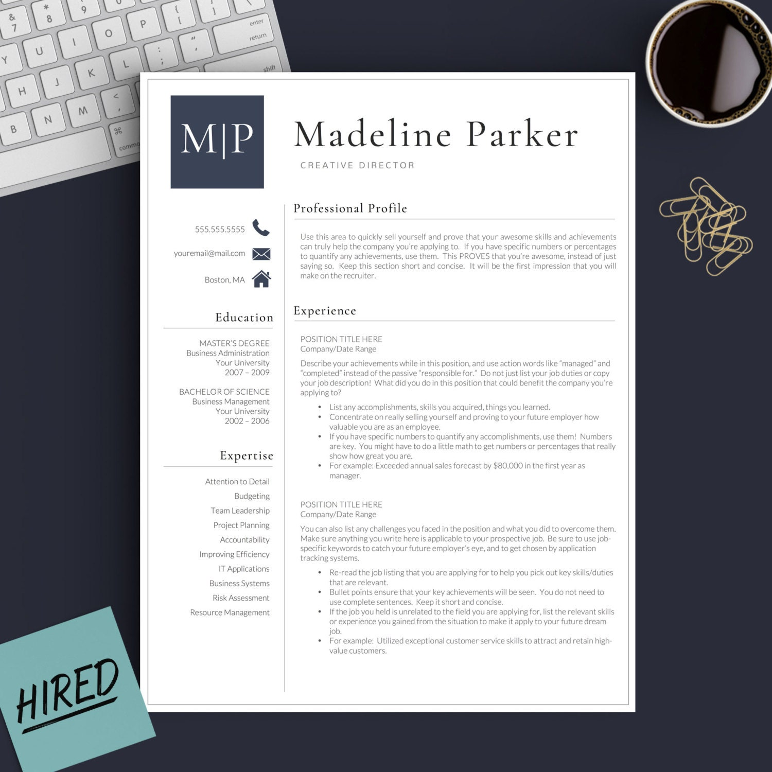 professional resume template for word  u0026 pages 1 2 and 3
