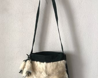 Fabulous bag from suede and mink fur decorated with furs bubo new  collection designer handmade bag women s dark green color has size-small. ed96098f9922c