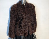 Karakul Fur Coat Women 39 s short in sporty style astrakhan fur brown color fur coat with a small collar female size is small.